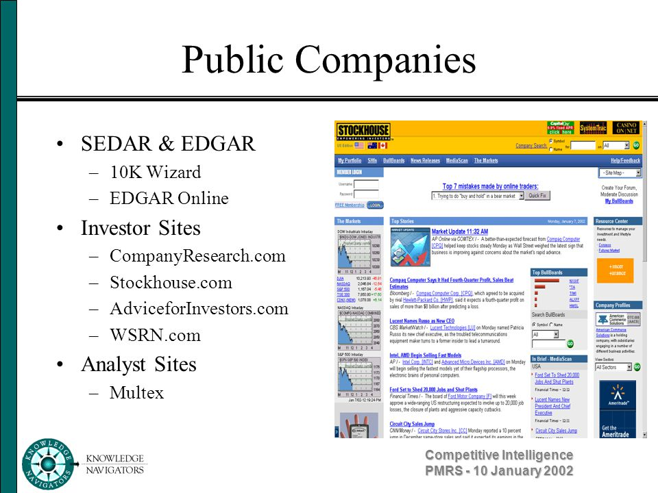 Competitive Intelligence PMRS - 10 January 2002 Public Companies SEDAR & EDGAR –10K Wizard –EDGAR Online Investor Sites –CompanyResearch.com –Stockhou