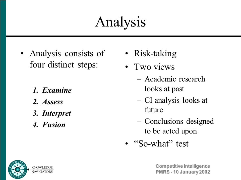 Competitive Intelligence PMRS - 10 January 2002 Analysis Analysis consists of four distinct steps: 1. Examine 2. Assess 3. Interpret 4. Fusion Risk-ta