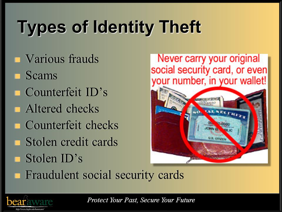 Types of Identity Theft Various frauds Various frauds Scams Scams Counterfeit IDs Counterfeit IDs Altered checks Altered checks Counterfeit checks Counterfeit checks Stolen credit cards Stolen credit cards Stolen IDs Stolen IDs Fraudulent social security cards Fraudulent social security cards Protect Your Past, Secure Your Future