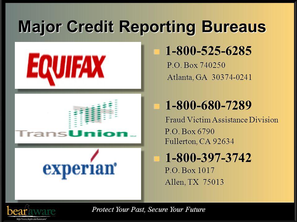 Major Credit Reporting Bureaus 1-800-525-6285 P.O.