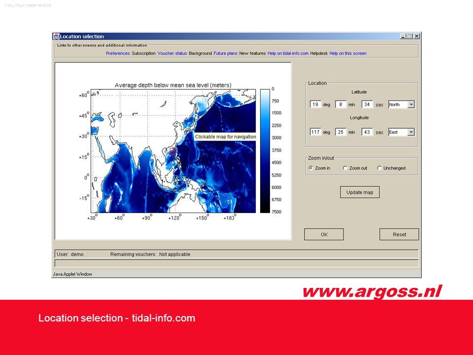 www.argoss.nl Location selection - tidal-info.com tidal_info_compresentatie2002