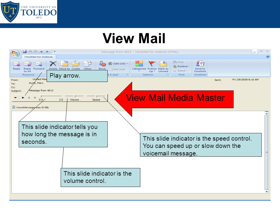 Unified Messaging Tools View Mail View Mail is a VCR-like control that is actually an embedded form in Outlook that is used for playing your voicemail