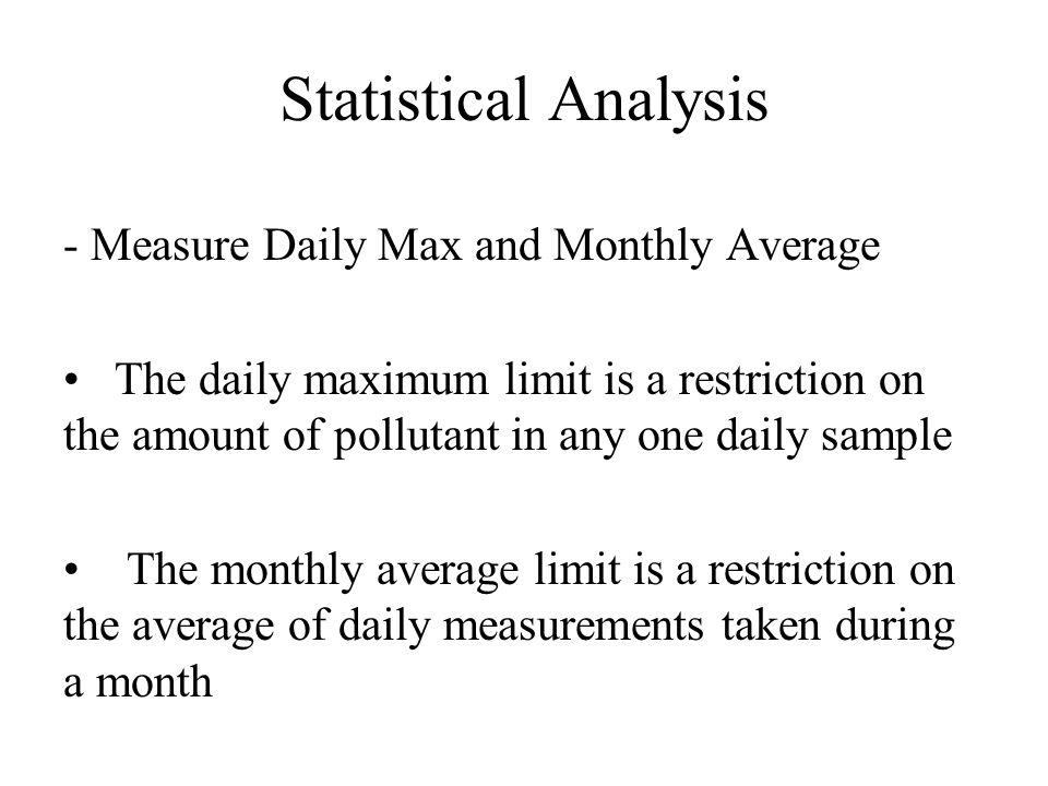 Statistical Analysis - Calculation of Limits LTA x daily VF = Daily Maximum Limit LTA x 4-day VF = Monthly Average Limit