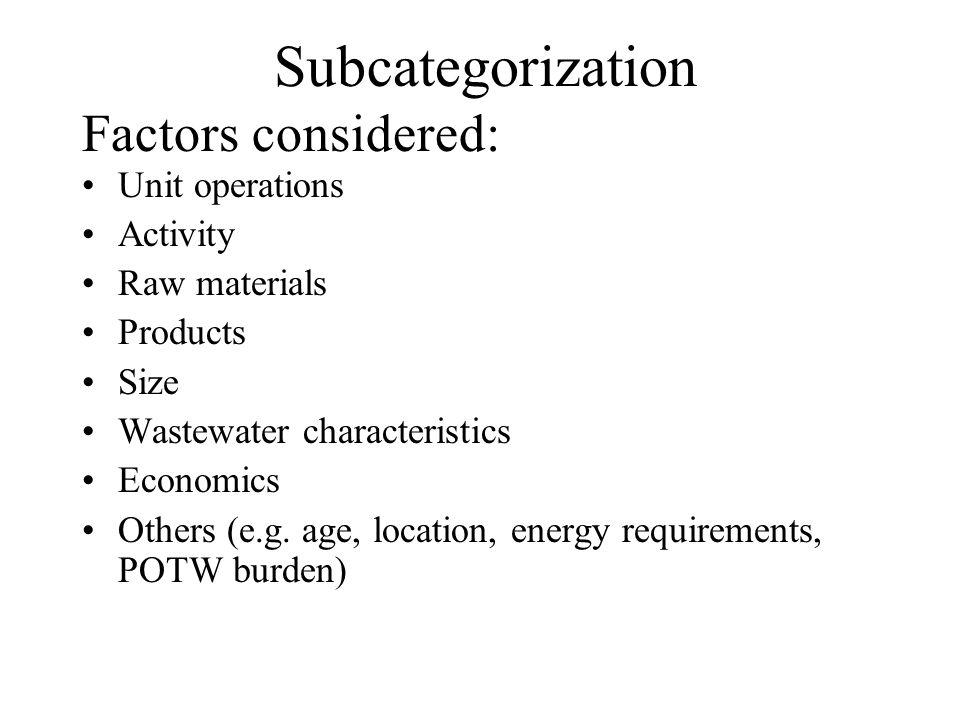 Regulated Pollutants Factors considered in eliminating POCs from list of regulated pollutants: 1) POC is controlled through the regulation of another pollutant 2) POC is present in only trace amounts and/or not toxic 3) Pollutant may serve as a treatment chemical 4) POC is not controlled by BPT/BAT technology