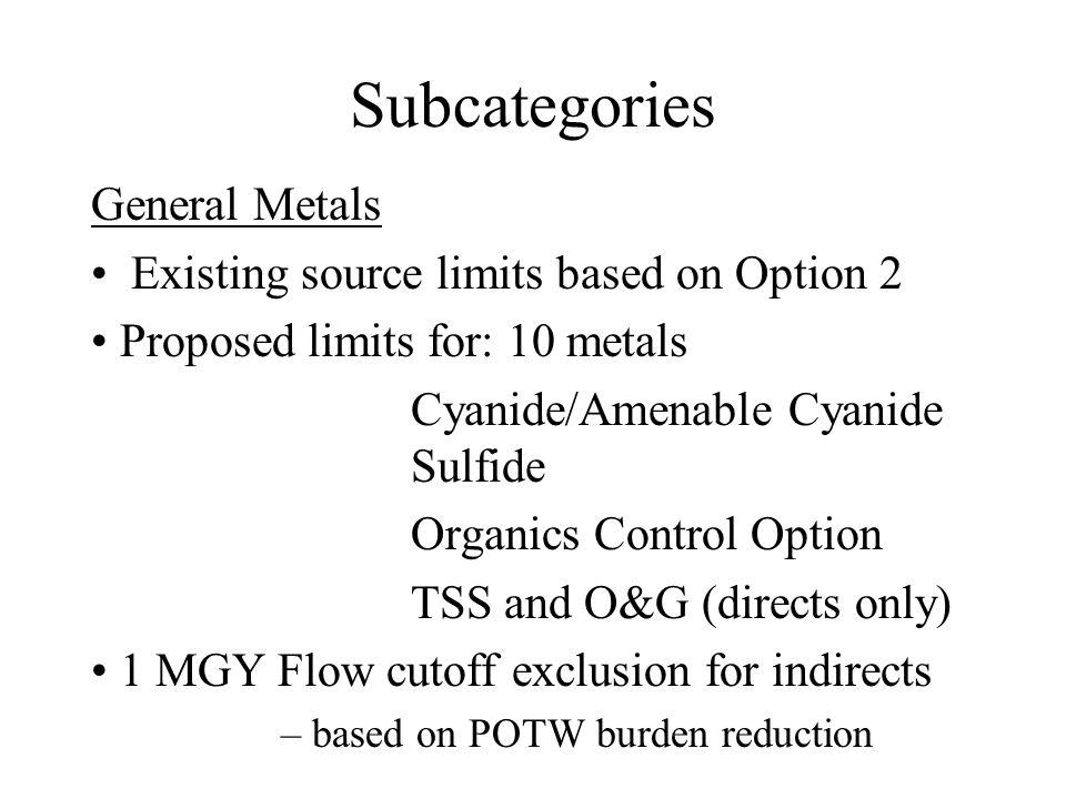 Subcategories General Metals All facilities that do not fall under one of the other subcategories. Includes captive MF shops, heavy rebuilding and mos