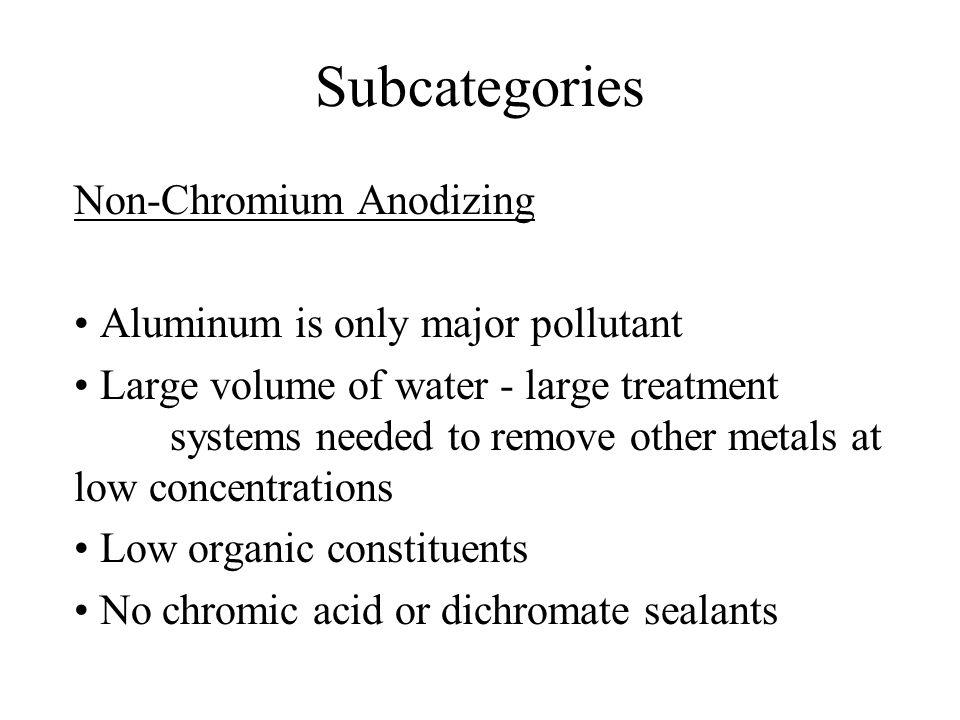 Subcategories Metal Finishing Job Shops Existing source limits based on Option 2 Proposed limits for: 10 metals Cyanide/Amenable Cyanide Sulfide Organics Control Option TSS and O&G (directs only) No Flow cutoff exclusion for indirects Higher variability factors than General Metals limits