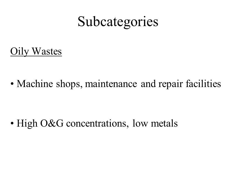 Subcategories Steel Forming and Finishing Existing source limits based on Option 2 General Metals Limits are mass-based (lb/1,000 lb) Proposed limits for: 10 metals Cyanide/Amenable Cyanide Sulfide Organics Control Option TSS and O&G (directs only) No flow cutoff exclusion for indirects