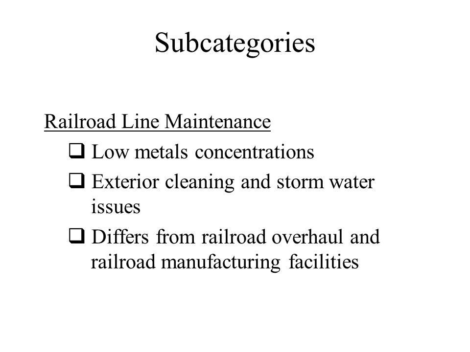 Subcategories Oily Wastes Based limits on Chemical Emulsion Breaking Proposed limits for: Sulfide Organics Control Option TSS and O&G (directs only) 2