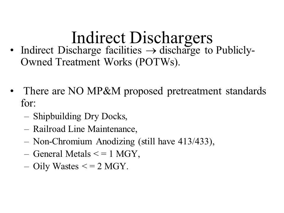 Direct Dischargers Direct Discharge facilities discharge wastewaters to the surface waters of the U.S.
