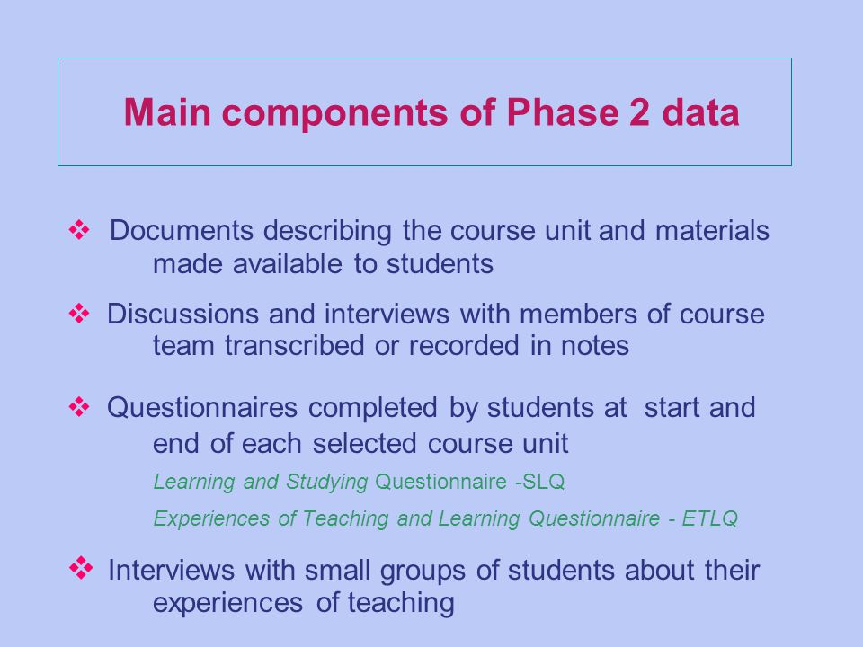 Main components of Phase 2 data v Documents describing the course unit and materials made available to students v Discussions and interviews with members of course team transcribed or recorded in notes v Questionnaires completed by students at start and end of each selected course unit Learning and Studying Questionnaire -SLQ Experiences of Teaching and Learning Questionnaire - ETLQ v Interviews with small groups of students about their experiences of teaching