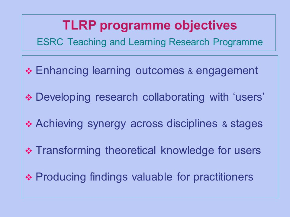 TLRP programme objectives ESRC Teaching and Learning Research Programme v Enhancing learning outcomes & engagement v Developing research collaborating with users v Achieving synergy across disciplines & stages v Transforming theoretical knowledge for users v Producing findings valuable for practitioners