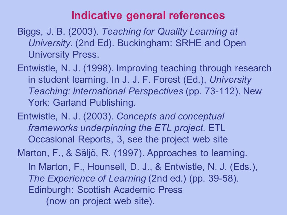 Indicative general references Biggs, J. B. (2003).