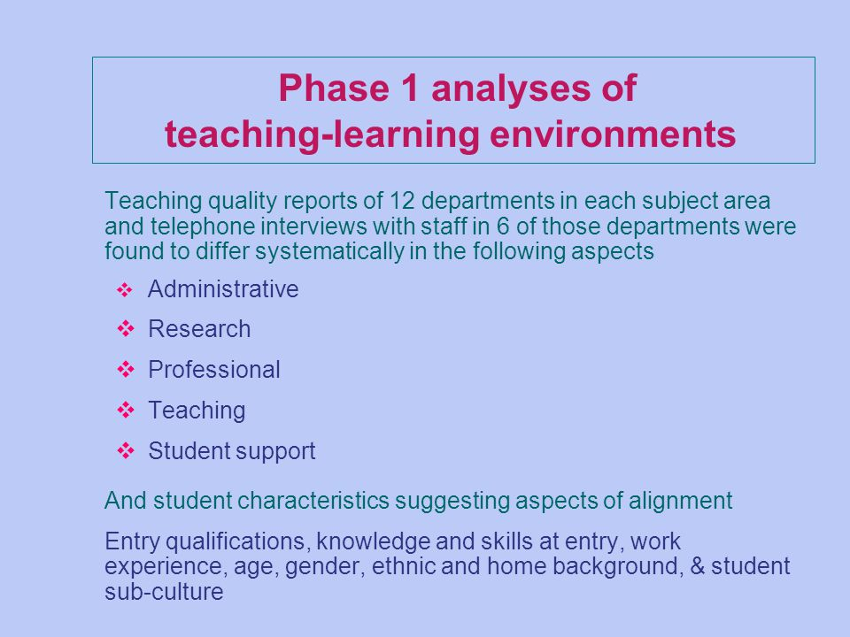 Phase 1 analyses of teaching-learning environments Teaching quality reports of 12 departments in each subject area and telephone interviews with staff in 6 of those departments were found to differ systematically in the following aspects v Administrative v Research v Professional v Teaching v Student support And student characteristics suggesting aspects of alignment Entry qualifications, knowledge and skills at entry, work experience, age, gender, ethnic and home background, & student sub-culture