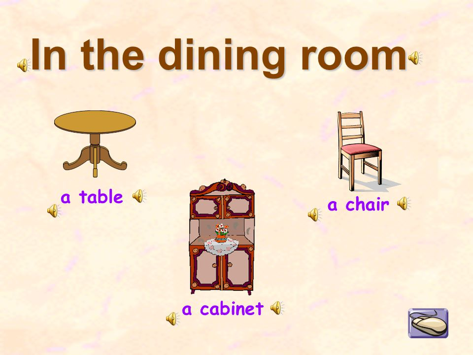 In the dining room a cabinet a table a chair