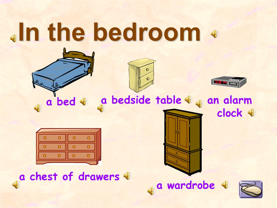 In the bedroom a bed a chest of drawers a bedside table a wardrobe an alarm clock