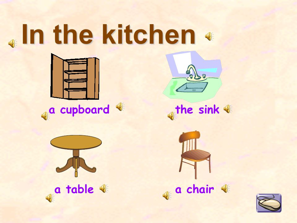 In the kitchen a cupboard a table the sink a chair