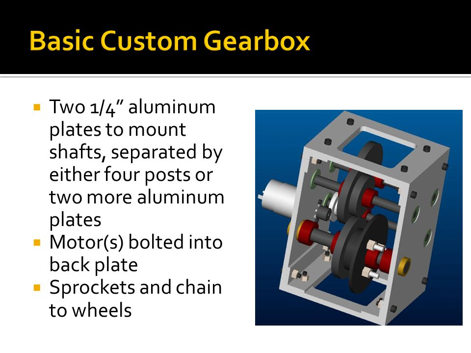 Two 1/4 aluminum plates to mount shafts, separated by either four posts or two more aluminum plates Motor(s) bolted into back plate Sprockets and chain to wheels