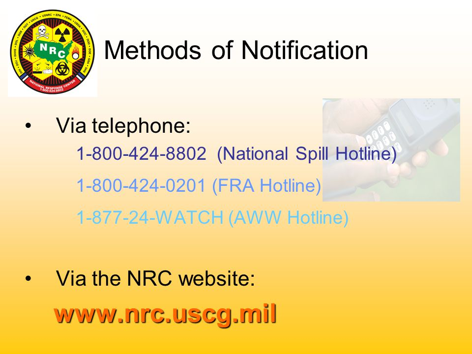 Primary Functions Collection and Dissemination of : *Oil & Hazardous Material Spills *Radiological / Biological Releases *Suspicious Activity & Security Breach Incidents (MTSA) *Railroad Incidents