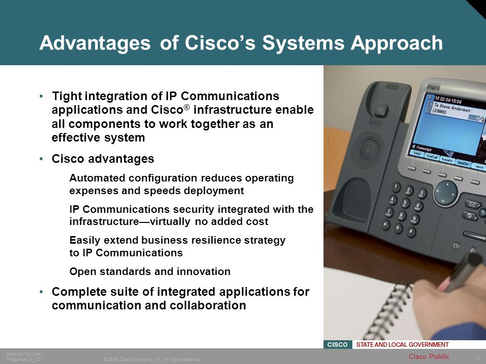 12 © 2005 Cisco Systems, Inc. All rights reserved. Session Number Presentation_ID Cisco Public Advantages of Ciscos Systems Approach Tight integration