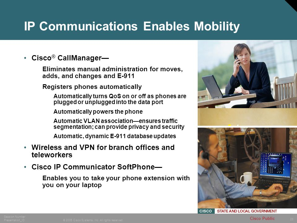 23 © 2005 Cisco Systems, Inc. All rights reserved. Session Number Presentation_ID Cisco Public IP Communications Enables Mobility Cisco ® CallManager