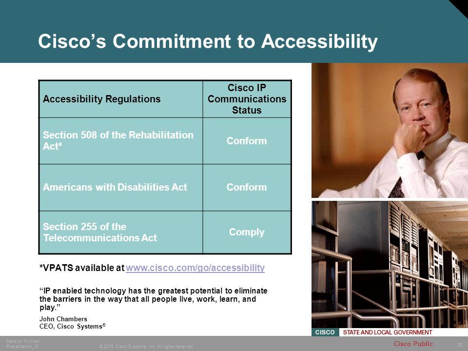 25 © 2005 Cisco Systems, Inc. All rights reserved. Session Number Presentation_ID Cisco Public Ciscos Commitment to Accessibility Accessibility Regula