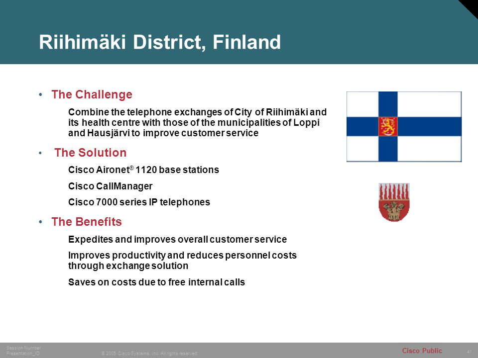 41 © 2005 Cisco Systems, Inc. All rights reserved. Session Number Presentation_ID Cisco Public Riihimäki District, Finland The Challenge Combine the t
