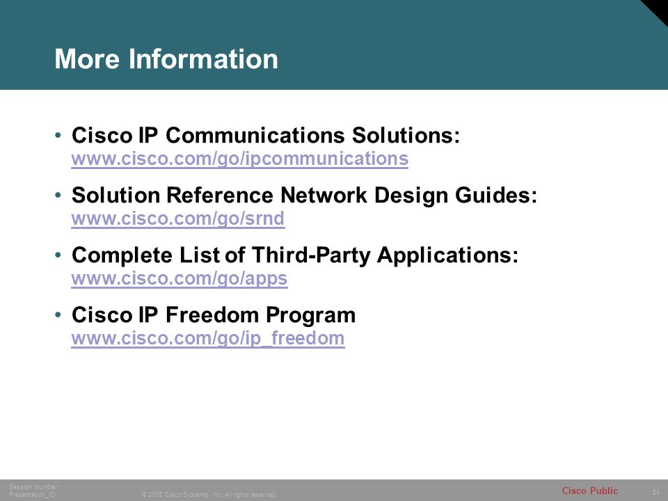 54 © 2005 Cisco Systems, Inc.All rights reserved.