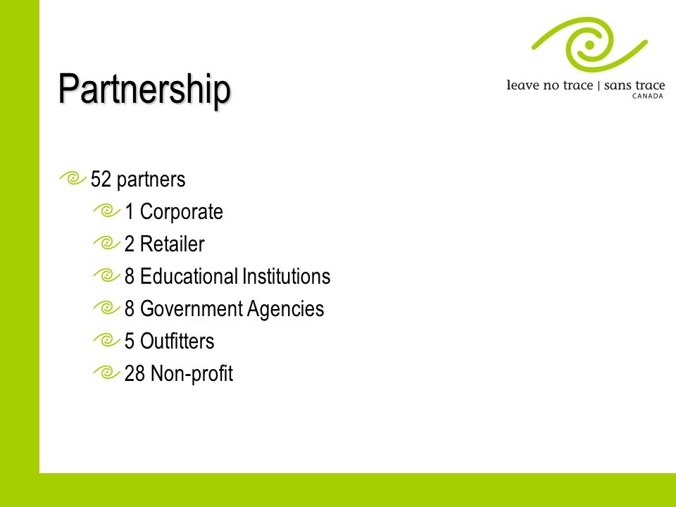Partnership 52 partners 1 Corporate 2 Retailer 8 Educational Institutions 8 Government Agencies 5 Outfitters 28 Non-profit