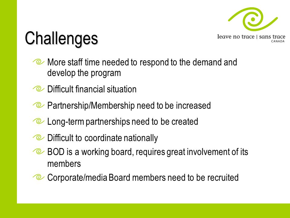 Challenges More staff time needed to respond to the demand and develop the program Difficult financial situation Partnership/Membership need to be inc