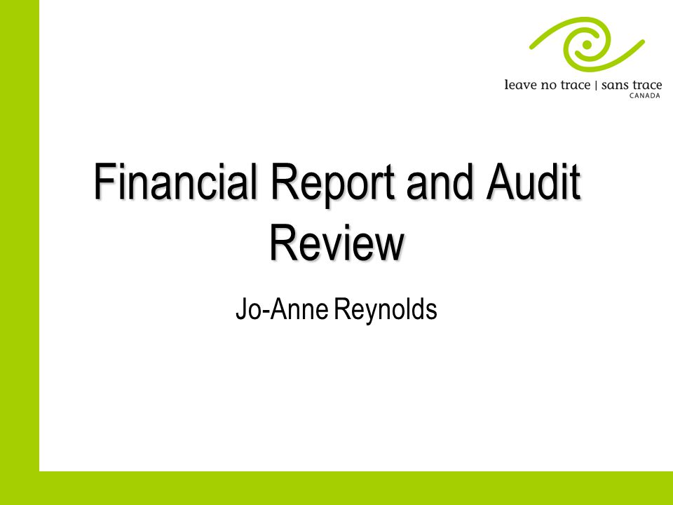 Financial Report and Audit Review Jo-Anne Reynolds