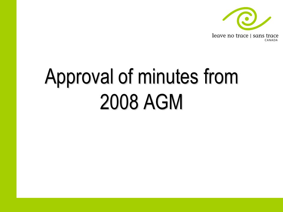 Approval of minutes from 2008 AGM