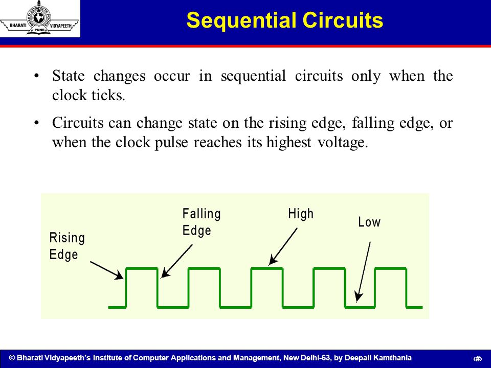© Bharati Vidyapeeths Institute of Computer Applications and Management, New Delhi-63, by Deepali Kamthania 101 Sequential Circuits State changes occu