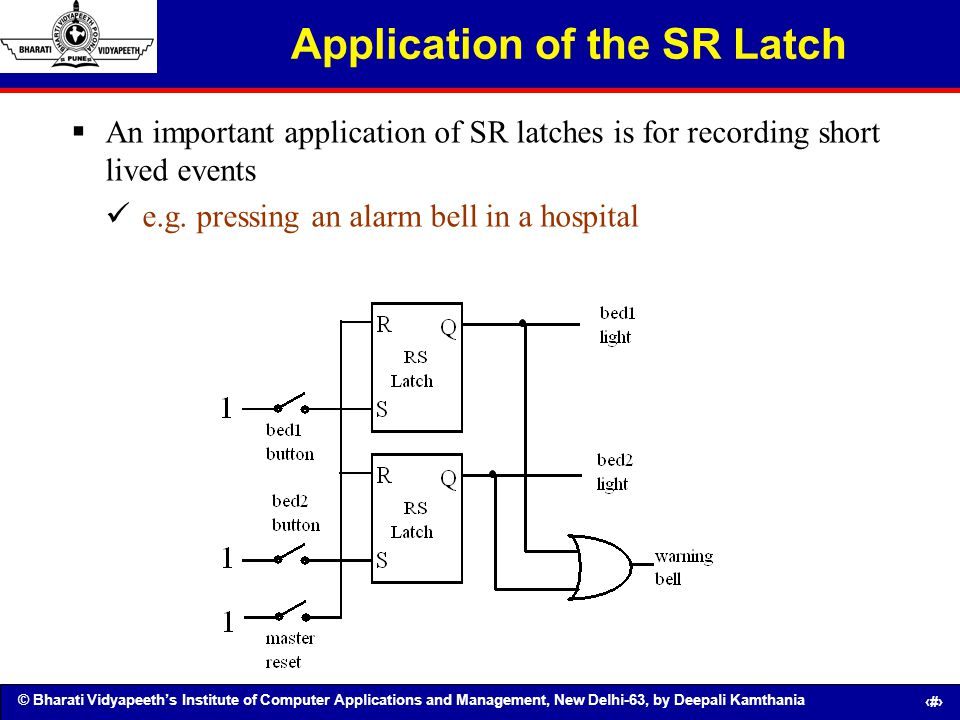 © Bharati Vidyapeeths Institute of Computer Applications and Management, New Delhi-63, by Deepali Kamthania 114 Application of the SR Latch An importa