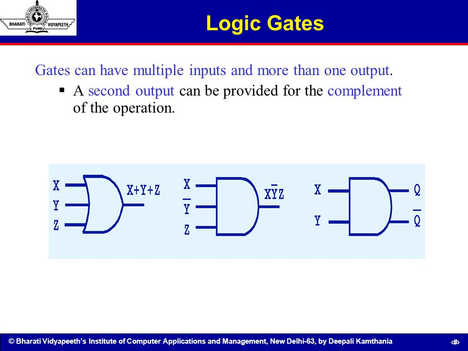 © Bharati Vidyapeeths Institute of Computer Applications and Management, New Delhi-63, by Deepali Kamthania 41 Logic Gates Gates can have multiple inp