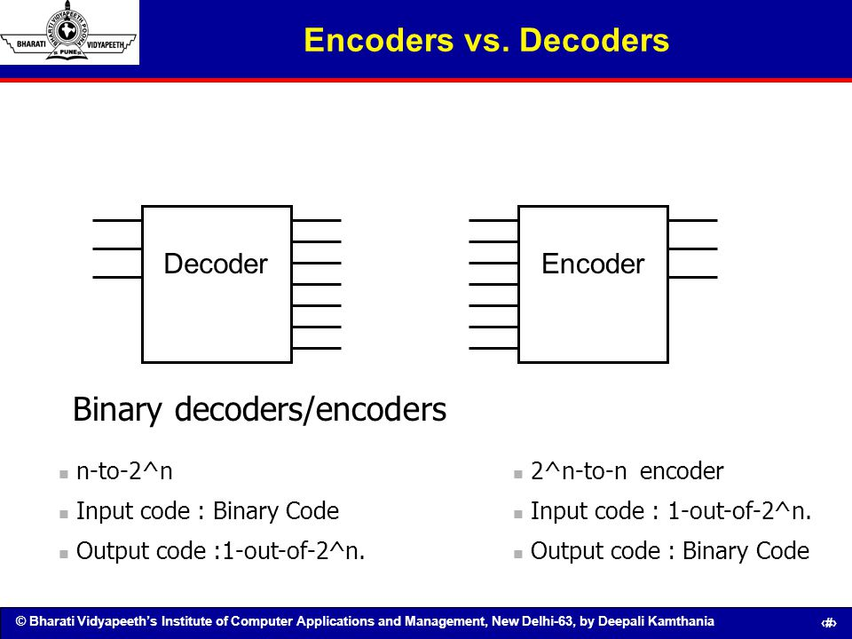 © Bharati Vidyapeeths Institute of Computer Applications and Management, New Delhi-63, by Deepali Kamthania 87 Encoders vs. Decoders DecoderEncoder 2^