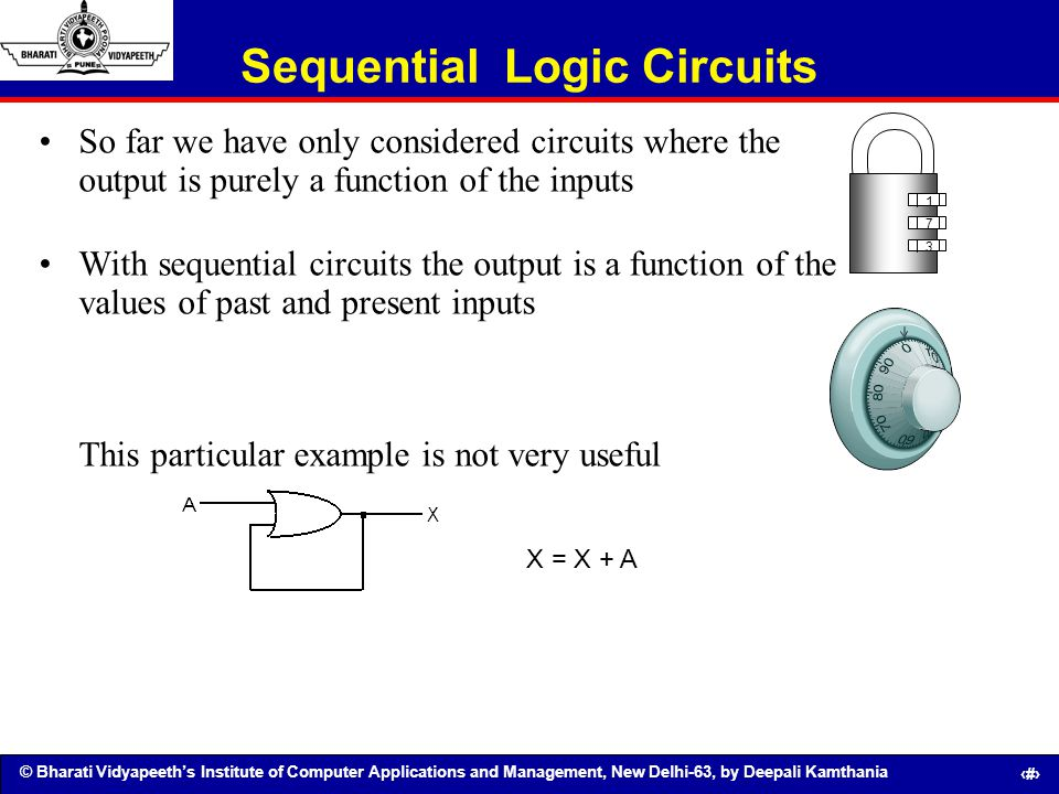 © Bharati Vidyapeeths Institute of Computer Applications and Management, New Delhi-63, by Deepali Kamthania 95 Sequential Logic Circuits So far we hav
