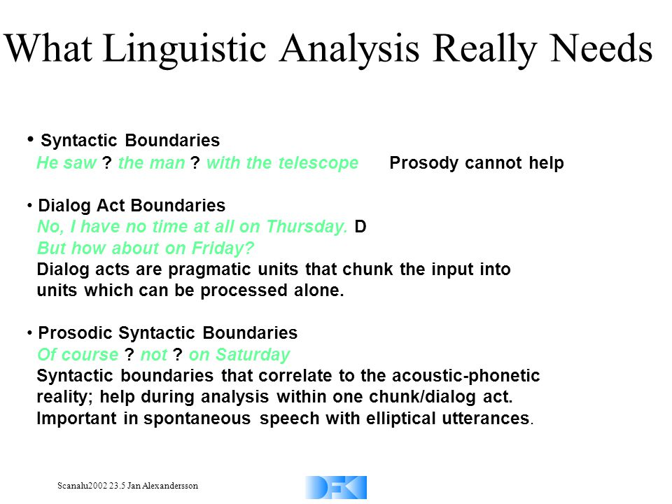 Scanalu2002 23.5 Jan Alexandersson What Linguistic Analysis Really Needs Syntactic Boundaries He saw .