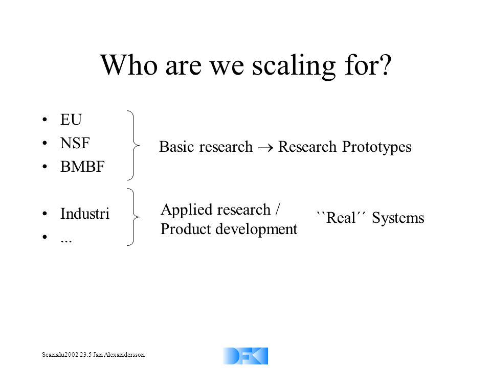 Scanalu2002 23.5 Jan Alexandersson Who are we scaling for? EU NSF BMBF Industri... Basic research Research Prototypes Applied research / Product devel