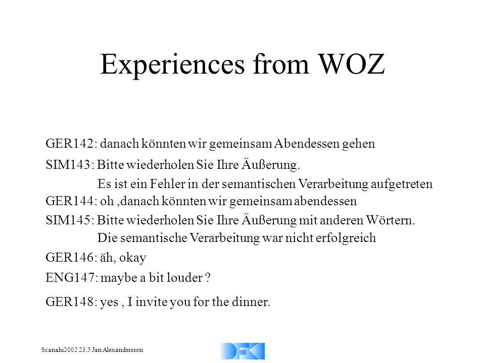 Scanalu2002 23.5 Jan Alexandersson Experiences from WOZ GER142: danach könnten wir gemeinsam Abendessen gehen SIM143: Bitte wiederholen Sie Ihre Äußerung.