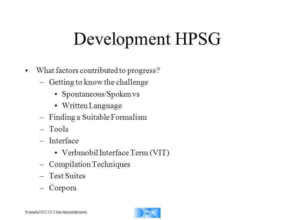 Scanalu2002 23.5 Jan Alexandersson Development HPSG What factors contributed to progress? –Getting to know the challenge Spontaneous/Spoken vs Written