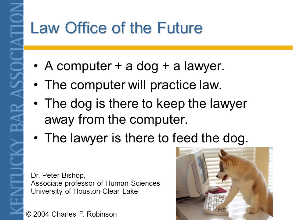 © 2004 Charles F.Robinson Law Office of the Future A computer + a dog + a lawyer.
