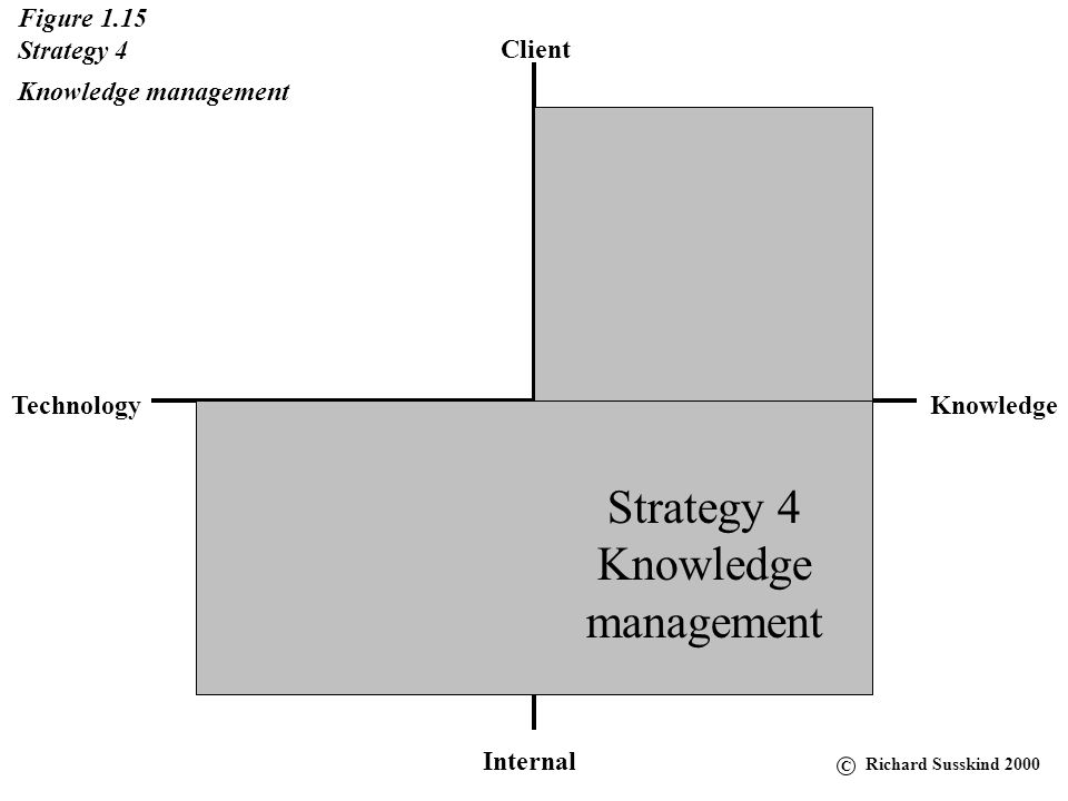 Client KnowledgeTechnology Internal Figure 1.14 Strategy 3 Client relationship systems Strategy 3 Client relationship systems C Richard Susskind 2000