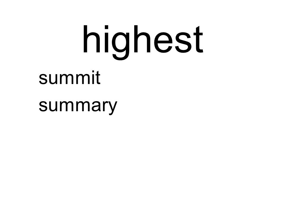 highest summit summary