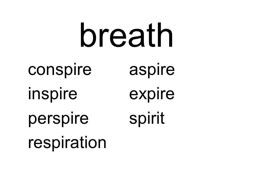 breath conspireaspire inspireexpire perspirespirit respiration