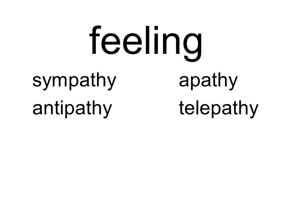 feeling sympathyapathy antipathytelepathy