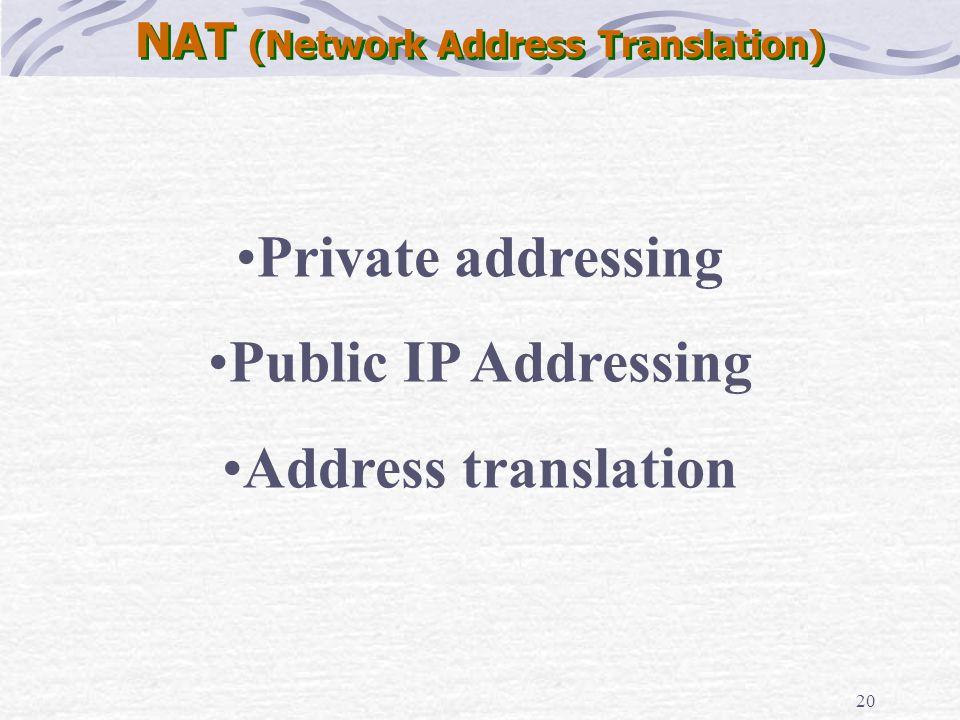20 NAT (Network Address Translation) Private addressing Public IP Addressing Address translation