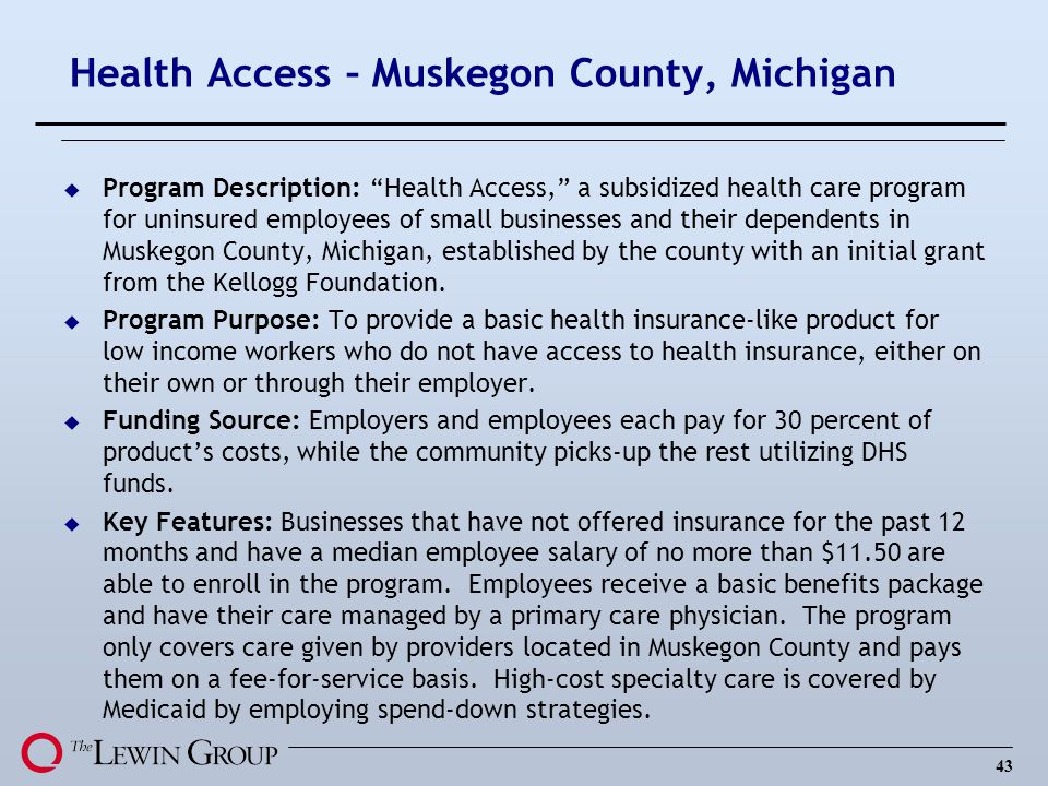 43 Health Access – Muskegon County, Michigan u Program Description: Health Access, a subsidized health care program for uninsured employees of small businesses and their dependents in Muskegon County, Michigan, established by the county with an initial grant from the Kellogg Foundation.