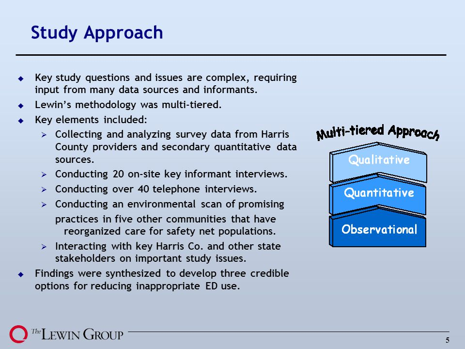 5 Study Approach u Key study questions and issues are complex, requiring input from many data sources and informants. u Lewins methodology was multi-t