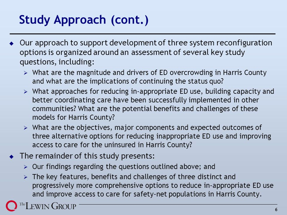 6 Study Approach (cont.) u Our approach to support development of three system reconfiguration options is organized around an assessment of several ke