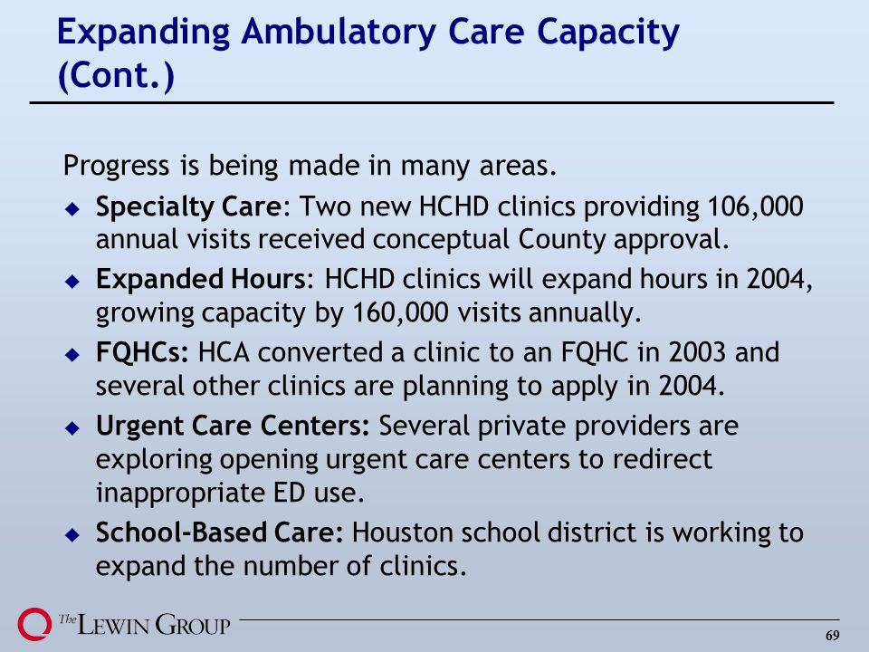 69 Expanding Ambulatory Care Capacity (Cont.) Progress is being made in many areas.
